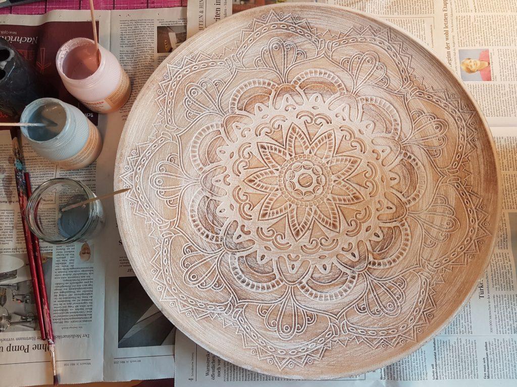 DIY Kreidefarbe Holzschale Upcycling