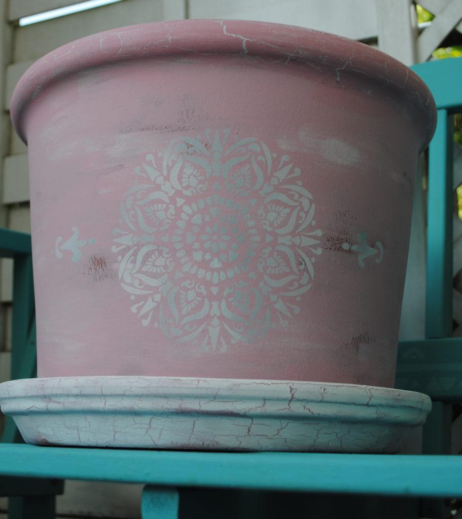 Upcycling Kreidefarbe Dekoidee Pflanztopf Tontopf Schablonen Krakelierlack